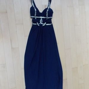 Gold Embellished Navy Blue Prom Dress